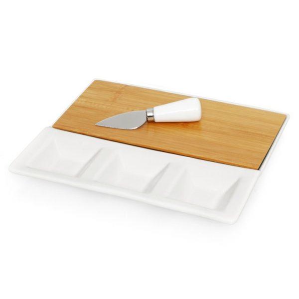 3pc Ceramic/Bamboo Cheese Set -  L479
