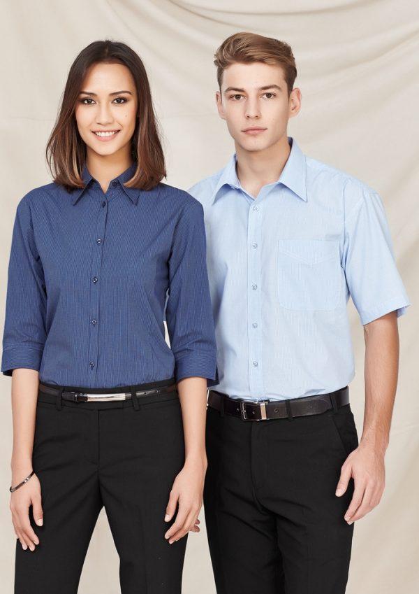 Ladies Micro Check 3/4 Sleeve Shirt LB8200