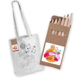 Promotional White Long Handle Cotton Bag with Colouring Pencils - LL5524