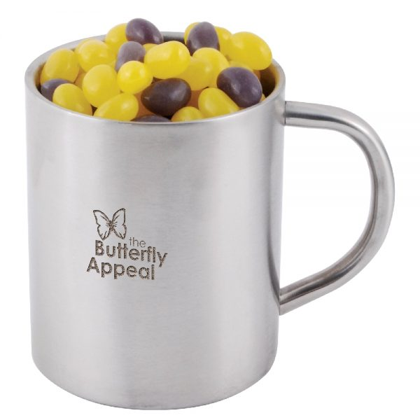 Corporate Colour Mini Jelly Beans in Stainless Steel Double Wall Barrel Mug LL8625