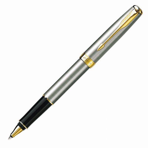 Parker Sonnet Rollerball Pen - Brushed Stainless GT -  S20081041