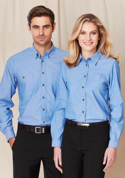 Mens Wrinkle Free Chambray Long Sleeve Shirt SH112