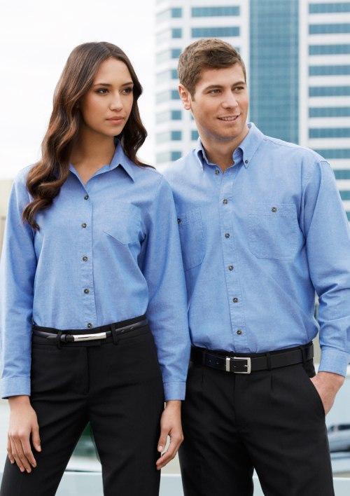 Ladies Wrinkle Free Chambray Long Sleeve Shirt LB6201