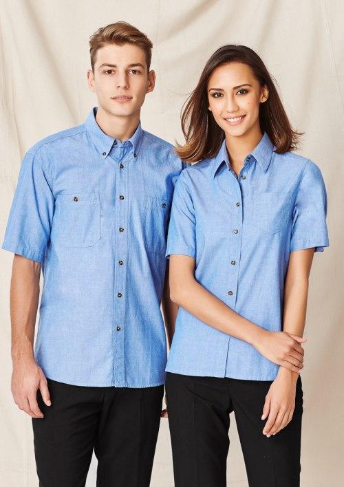 Mens Wrinkle Free Chambray Short Sleeve Shirt SH113