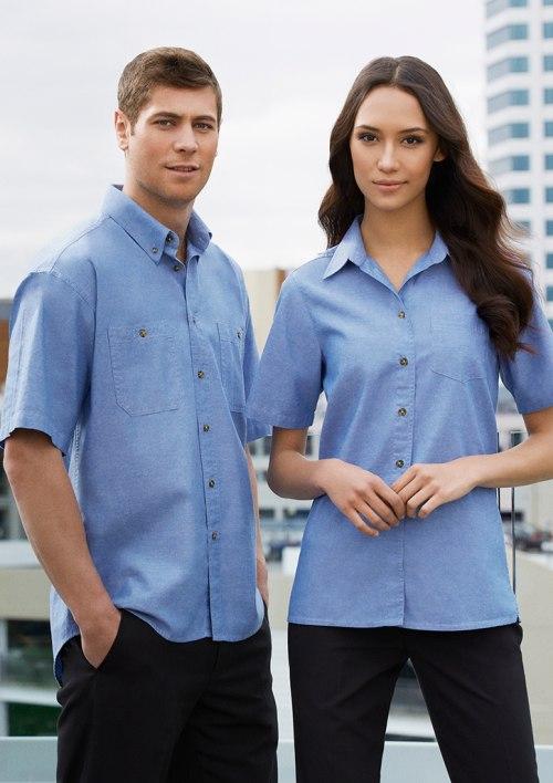 Ladies Wrinkle Free Chambray Short Sleeve Shirt LB6200