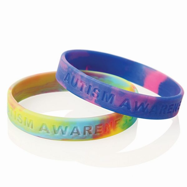 Multi-Coloured Debossed Silicone Wristband -  WB03