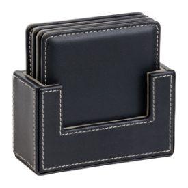 D319 4 Piece Leather Look Square Coaster Set