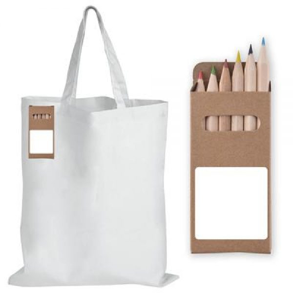 Promotional White Short Handle Cotton Bag with Colouring Pencils - LL5523