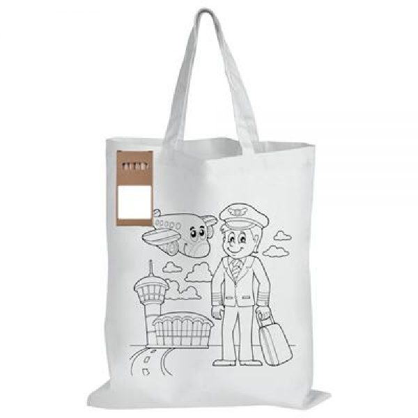 Branded White Short Handle Cotton Bag with Colouring Pencils - LL5523