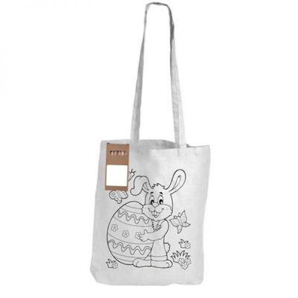 Bulk White Long Handle Cotton Bag with Colouring Pencils - LL5524