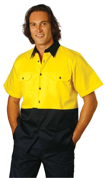 SW53 Hi-Vis Two Tone Short Sleeve Cotton Work Shirt.