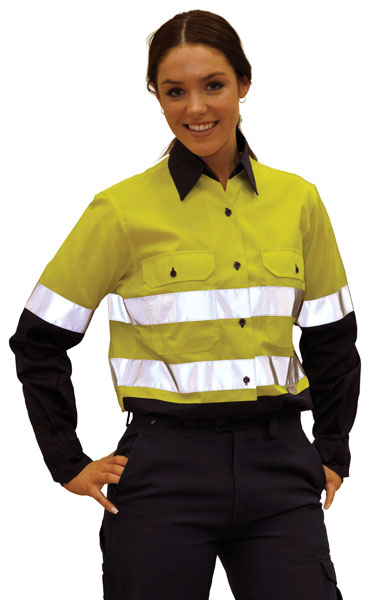 SW65 Ladies' High Visibility Cool-Breeze Cotton Twill Safety Shirts